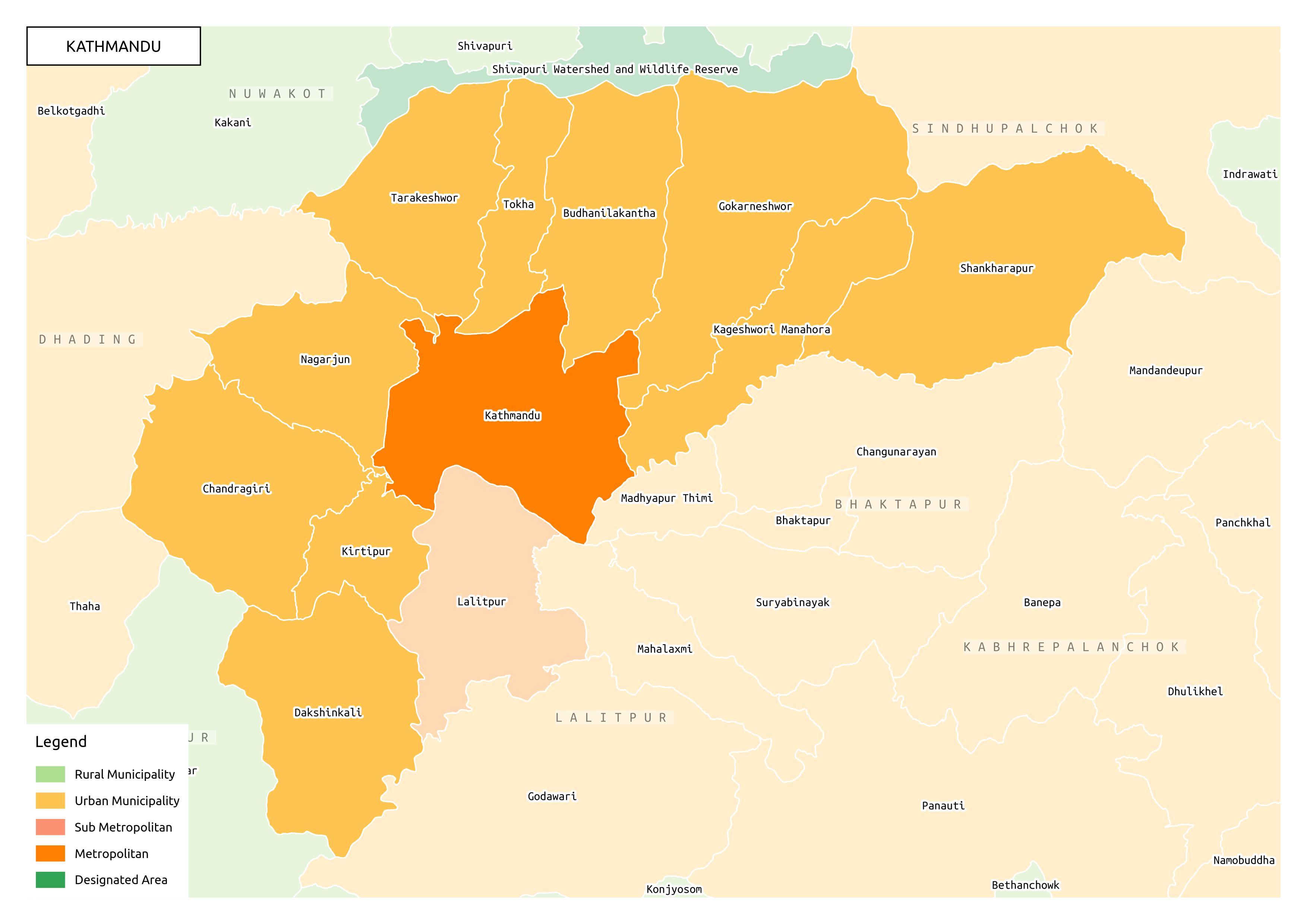 EHRP Nepal Kathmandu Map